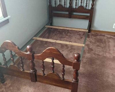 Twin bed, solid cherry wood