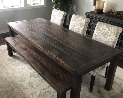 Large custom build solid wood 8 dining table