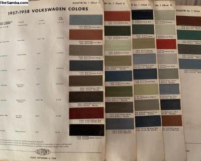 Very Rare 36 Original 1957-1958 VW Color Chips