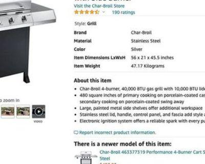 Char-Broil CHARBROIL 463436215 Classic 4-Burner Gas Grill +Side Burner