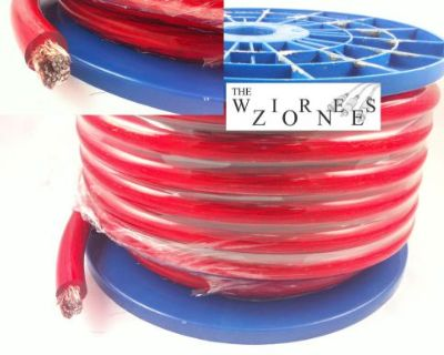 Red 1/0 Gauge 50' Feet Power Cable Wire For Car/home Audio