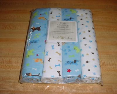 New Koala Baby Boy Puppy Themed Flannel Receiving Blankets (Pack Of 4). Swaddle Your Tired Tot In Extra Cozy, Soft, Soothing Comfort!...