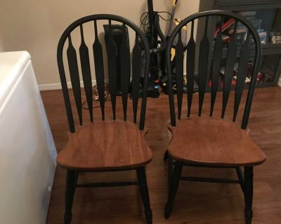 2 Wood high back Chairs (tan & black) 41 tall 21 Wide $40 for both Regular height