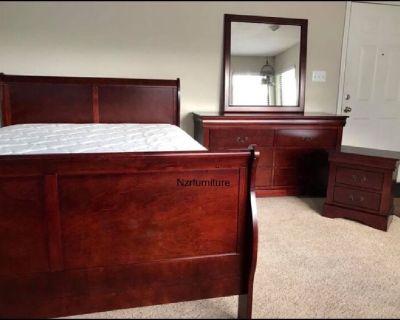 New in Box- Cherry Sleigh Bedroom Set In Queen