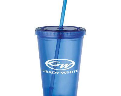 Grady White Blue Double Wall Acrylic 16 Oz Tumbler Cup