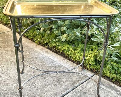 Brass Top Tray Table Side Occasional Table