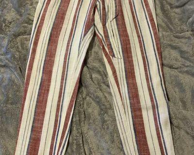 Indero Paper Bag Stripped High Waist Pants