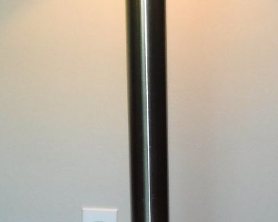 Floor Lamp - 3 way light - Stainless base - Ivory & Taupe Shades