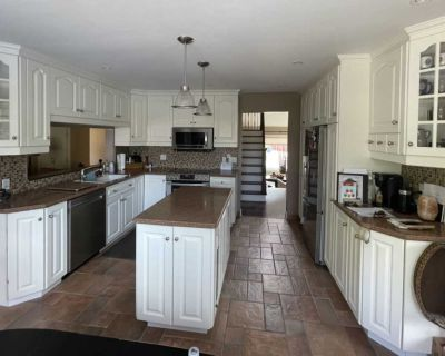 White Kitchen Cabinets with Corian Seamless Counters