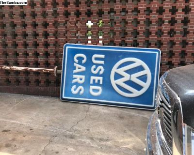 Double sided used car dealership sign with pole vw