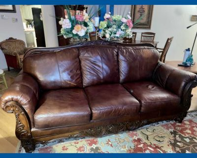 Ashley furniture brown leather 90 couch sofa