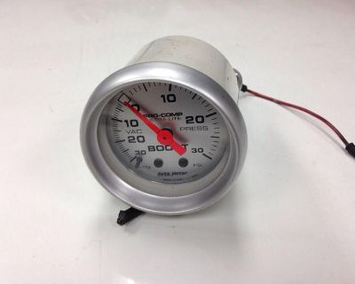 "Autometer Ultra-lite Mechanical Boost/vacuum Gauge 2"" Silver Face 4303 Turbo :):"