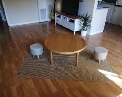 Coffee table+ rug + 2 OTTOMAN seats pouf