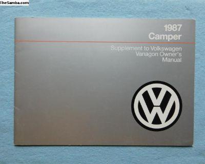 NOS 1987 Camper supplement manual Westfalia