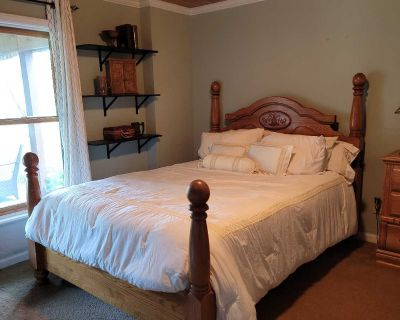 $550 OBO Queen oak bedroom set including mattress & boxspring