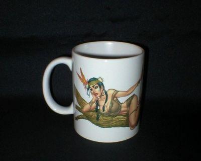 Signed AL RIO ART Coffee Mug with Native American Indian