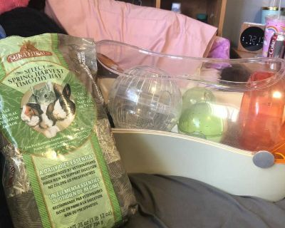 hamster cage, hay, ball, food and treats