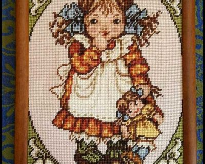 Hand Stitched Picture - Little Girl with Baby Doll - Needlepoint Framed Art
