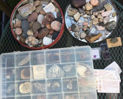 Collection of rocks,fossils,shells and gems