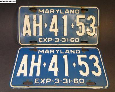 License Plates - Maryland AH4153 1959/60 - Pair