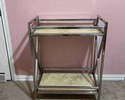 Chrome and wood bar cart or trolley