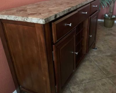 Reduced 7 piece dining room table and buffet