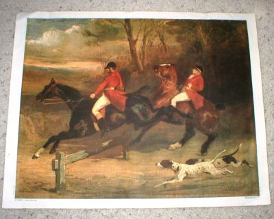 """Large Fox Hunt Print on Canvas - Printed in Italy - 29"""" x 22 1/2"""""""