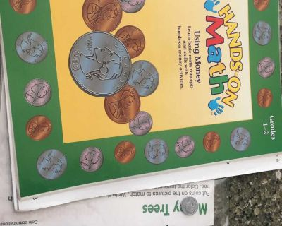 Math book with play coins