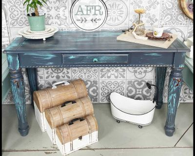 Blue and grey sofa table or writing desk
