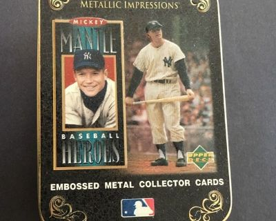 Mickey Mantle 1996 Upper Deck Baseball Heroes 5 Metallic Card Set with Collectors Tin
