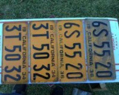 Original California 34 + 36 pair of license plates