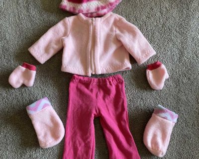 Winter pink outfit for 18 doll