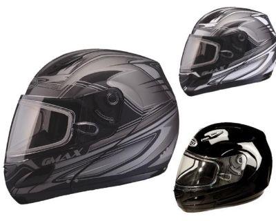 2014 Gmax Gm44s Modular Snowmobile Snow Helmet Electric Shield Black Blk/silver