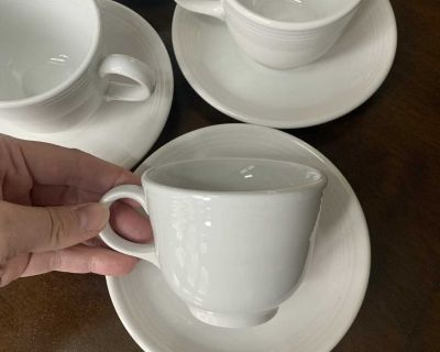 Fiestaware white cups and saucers