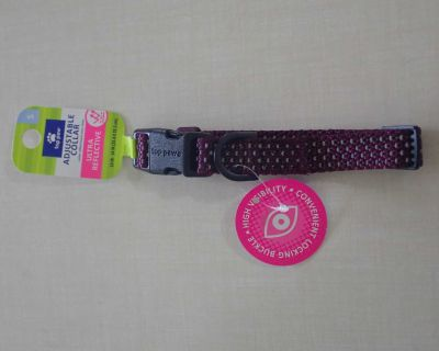 Brand New with Tags! Beautiful Dark Purple with Pretty Ultra Reflective Design Adjustable Dog Collar Size Small