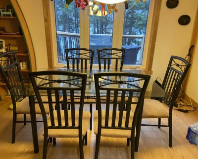 36x60 Glass kitchen table with 6 chairs
