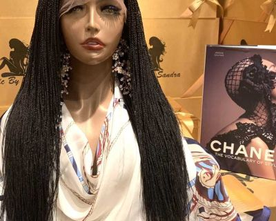 Handmade Micro - Twist braided with natural full lace hair wig