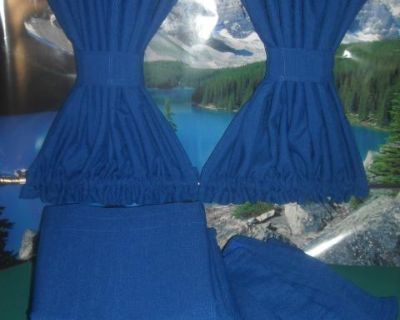 VW Bus Royal Blue Curtains with Cabin Dividers Bay