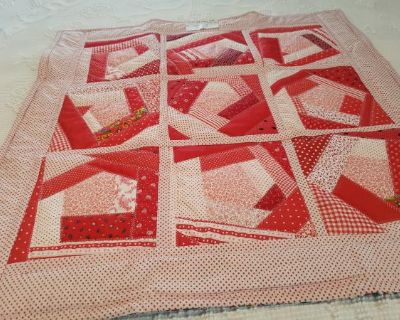 Small Red Crazy Path Crib quilt