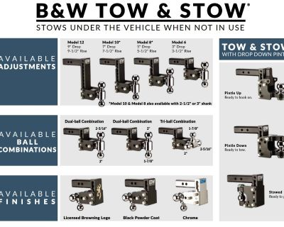 B&W Hitches TOW & STOW ADJUSTABLE BALL MOUNT Hitches Harrisburg, PA