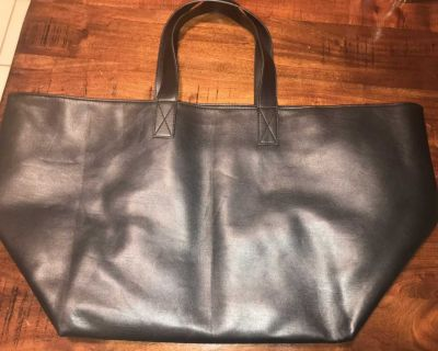 Faux Black large Leather Tote