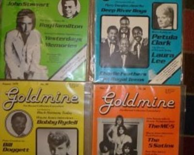 GOLDMINE ~ Four Rare 1970s Slick Covers Magazines !