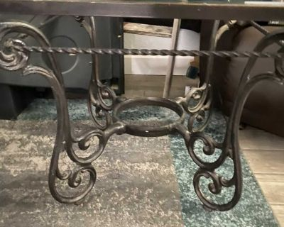 2 metal end glass top tables