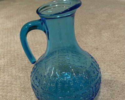 Blue glass water pitcher