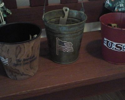 Bar Ware Vintage Beer Bottle Openers In Patriotic Buckets-Assembled by Crafter