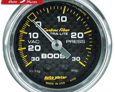 Auto Meter 4703 Carbon Fiber; Mechanical Boost/vacuum Gauge