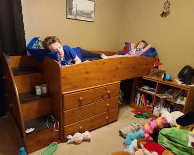 Bed, dresser, bookcase combo
