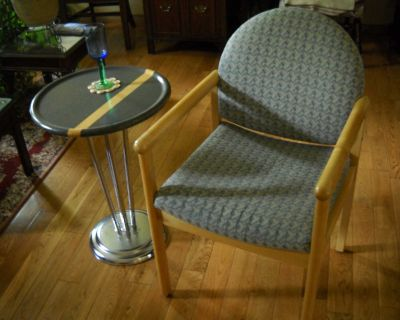 Retro solid maple armchair and art deco style chrome side table