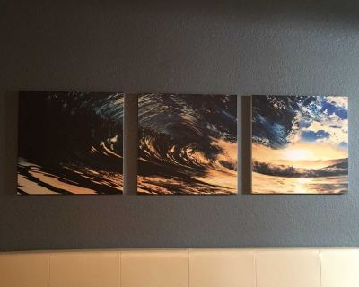 3 piece wave art