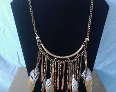Gold Feathered Charms Necklace